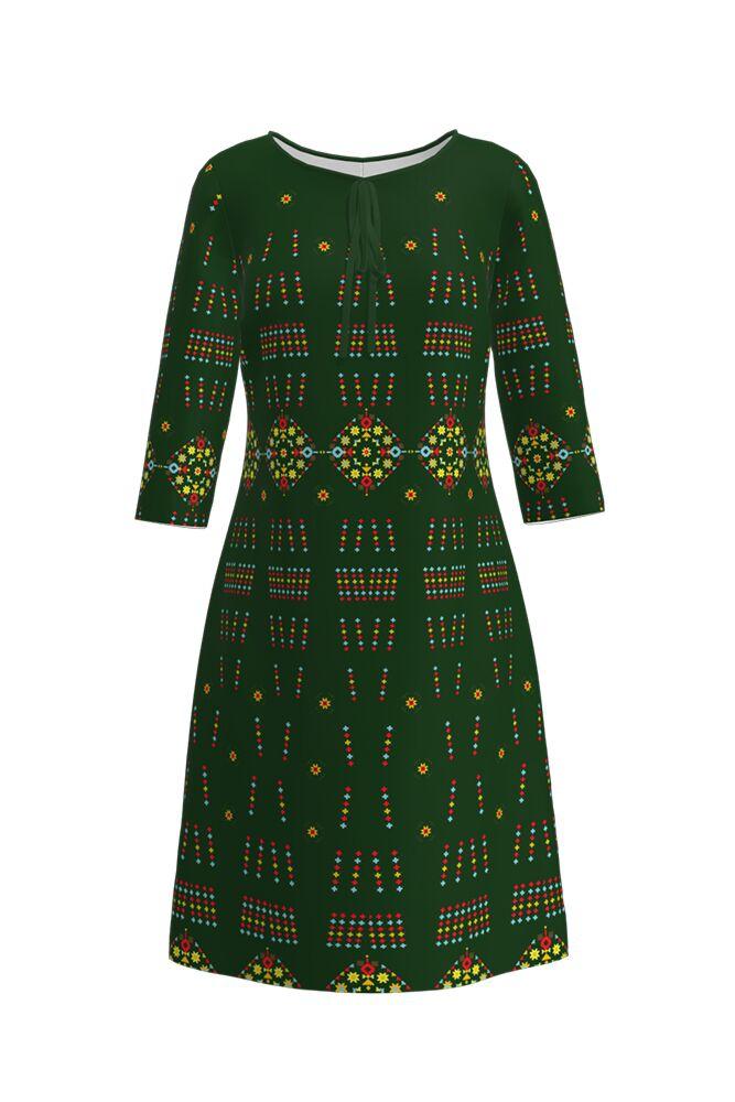 Rochie DAMES verde, imprimată digital, cu motive tradiționale românești