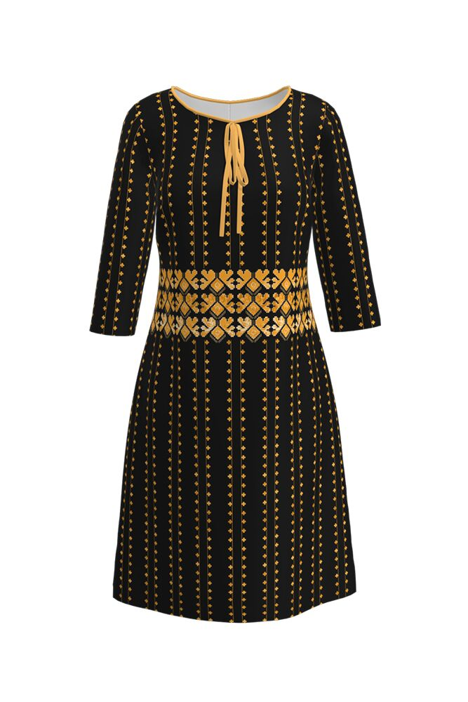 Rochie DAMES neagră, imprimată digital, cu motive tradiționale românești,