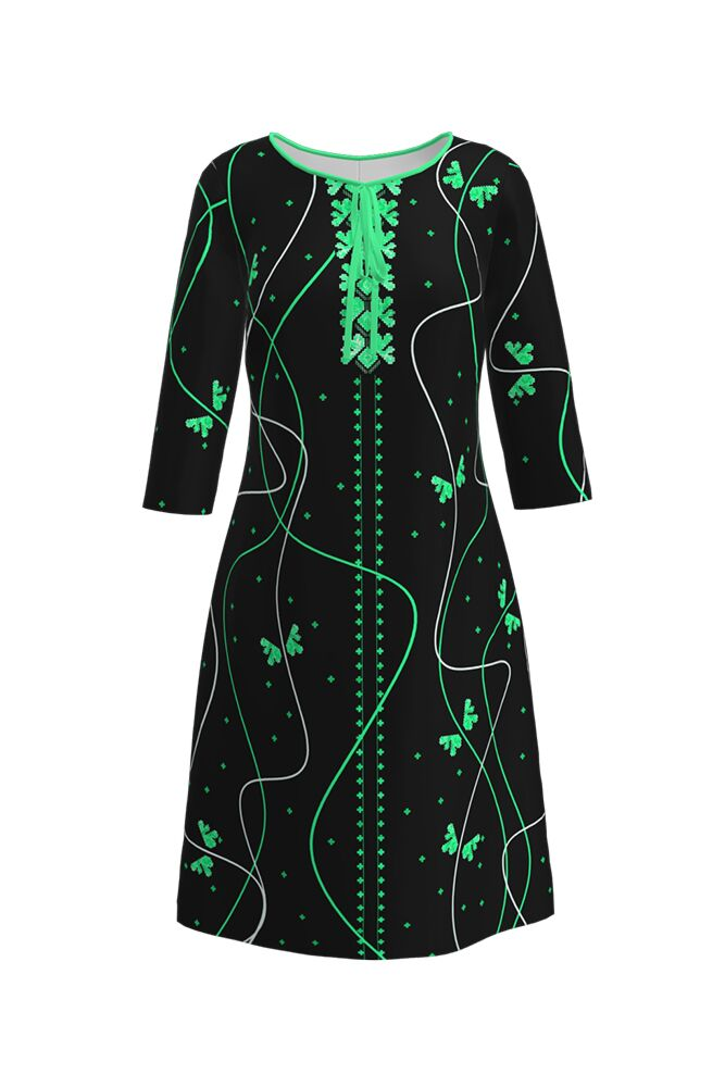 rochie DAMES neagra imprimata cu model traditional verde