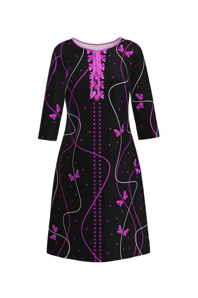 rochie DAMES de zi neagra cu print traditional violet