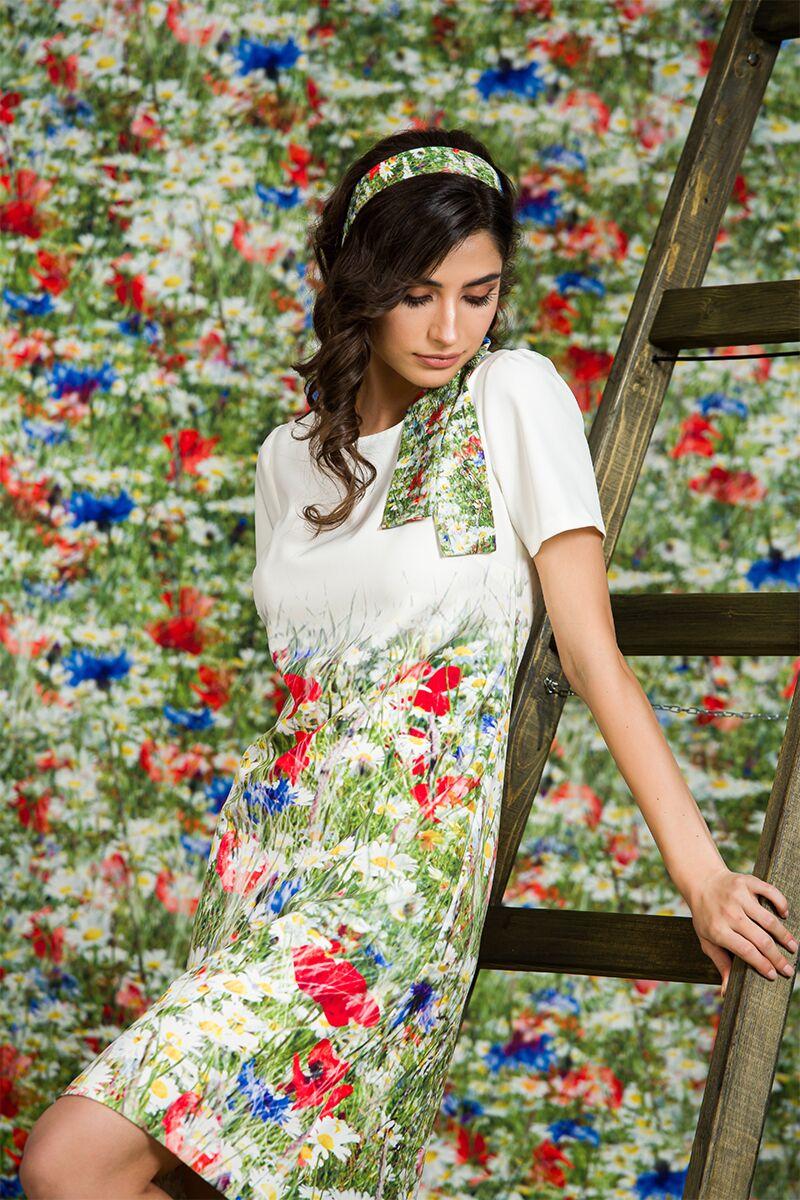 Rochie alba vara imprimata digital cu model floral DAMES
