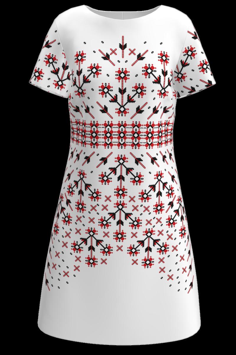 Rochie DAMES casual, albă, imprimată digital cu elemente tradiționale românești.