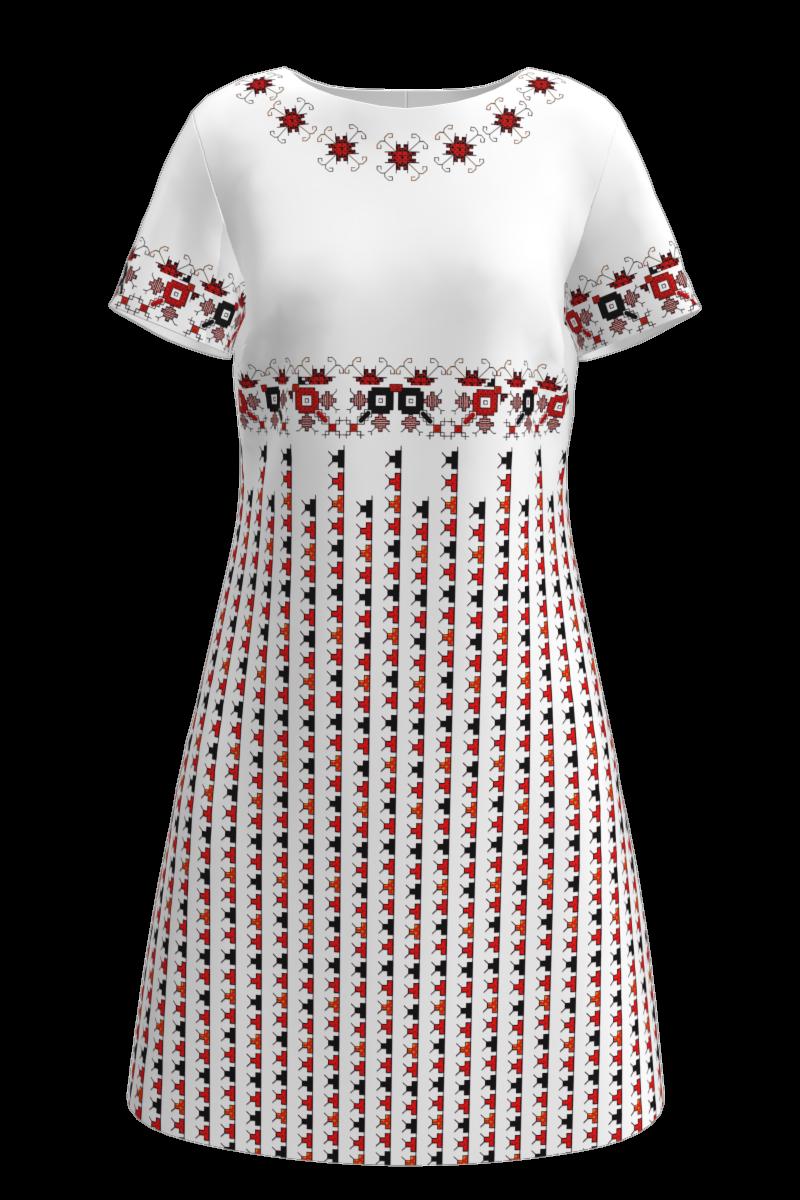 Rochie DAMES alba cu imprimeu traditional