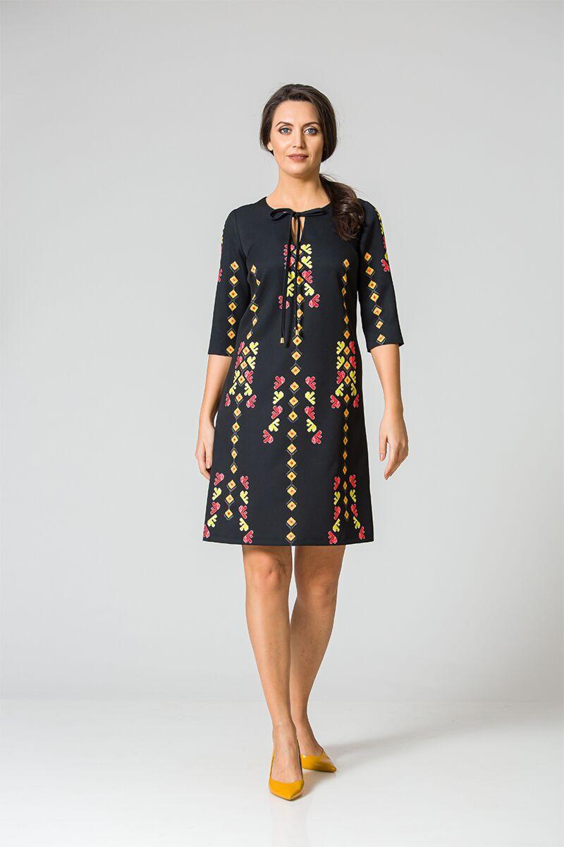 rochie DAMES neagra cu imprimeu traditional mulricolor