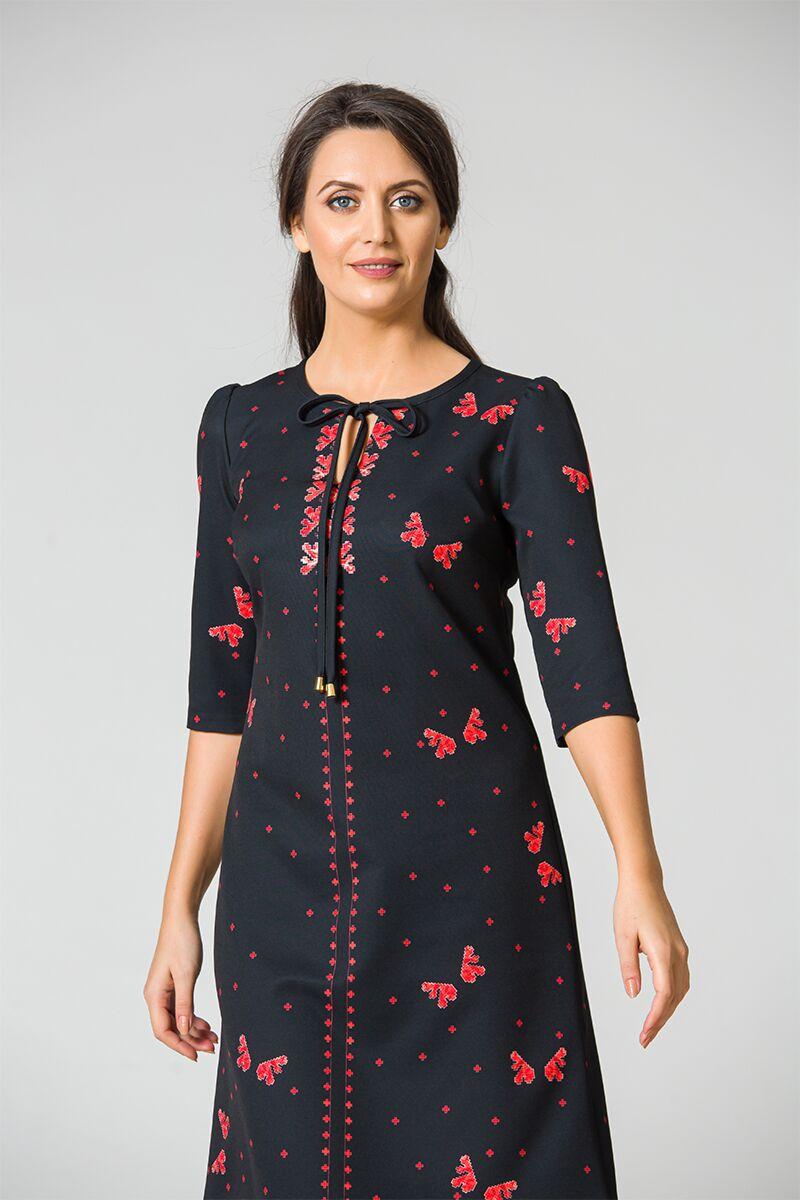 Rochie DAMES neagra imprimata cu model traditional rosu