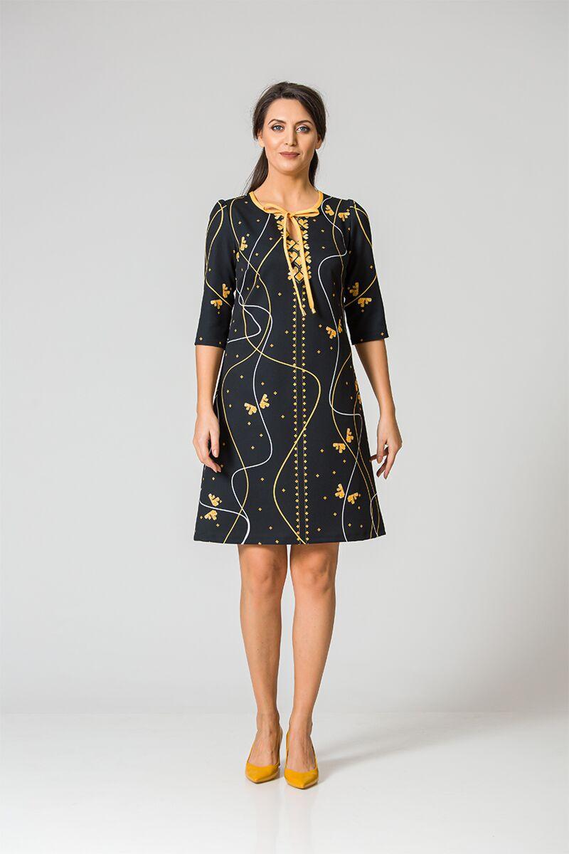 rochie DAMES neagra imprimata cu motive traditionale romanesti