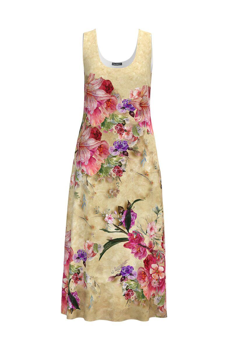Rochia DAMES lunga de zi cu bretele si buzunare ,bej imprimata cu model floral