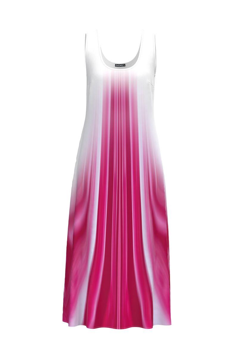 Rochie DAMES  lunga casual de vara cu buzunare imprimata in nuante de roz si alb