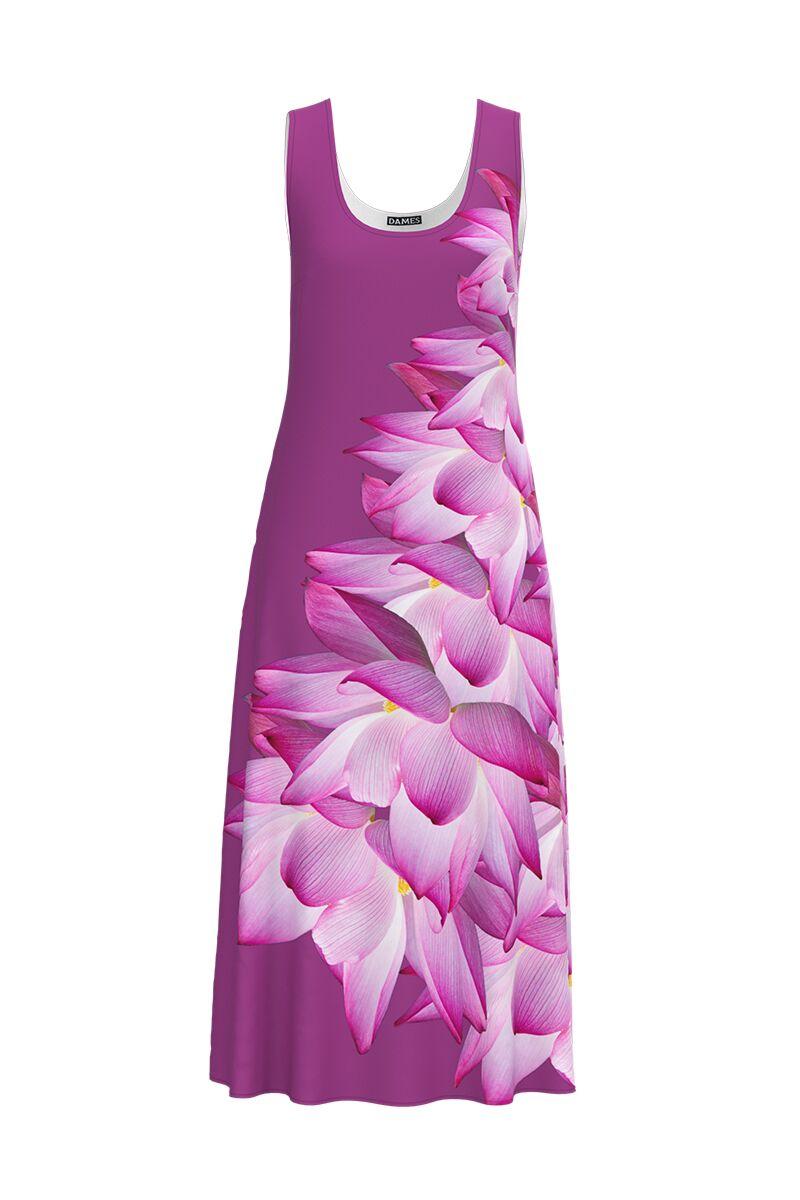 Rochie DAMES lunga casual de vara cu buzunare, mov imprimata cu model floral