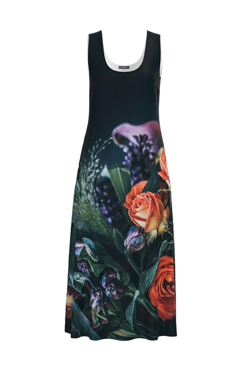Rochie DAMES  lunga casual de vara cu buzunare, neagra imprimata cu model trandafiri