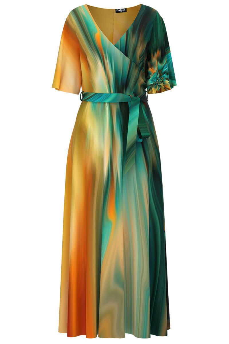 Rochie DAMES multicolora lunga eleganta de seara imprimata digital