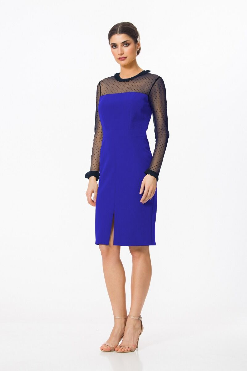 Rochie DAMES de craciun  albastra cu maneci din tulle in contrast
