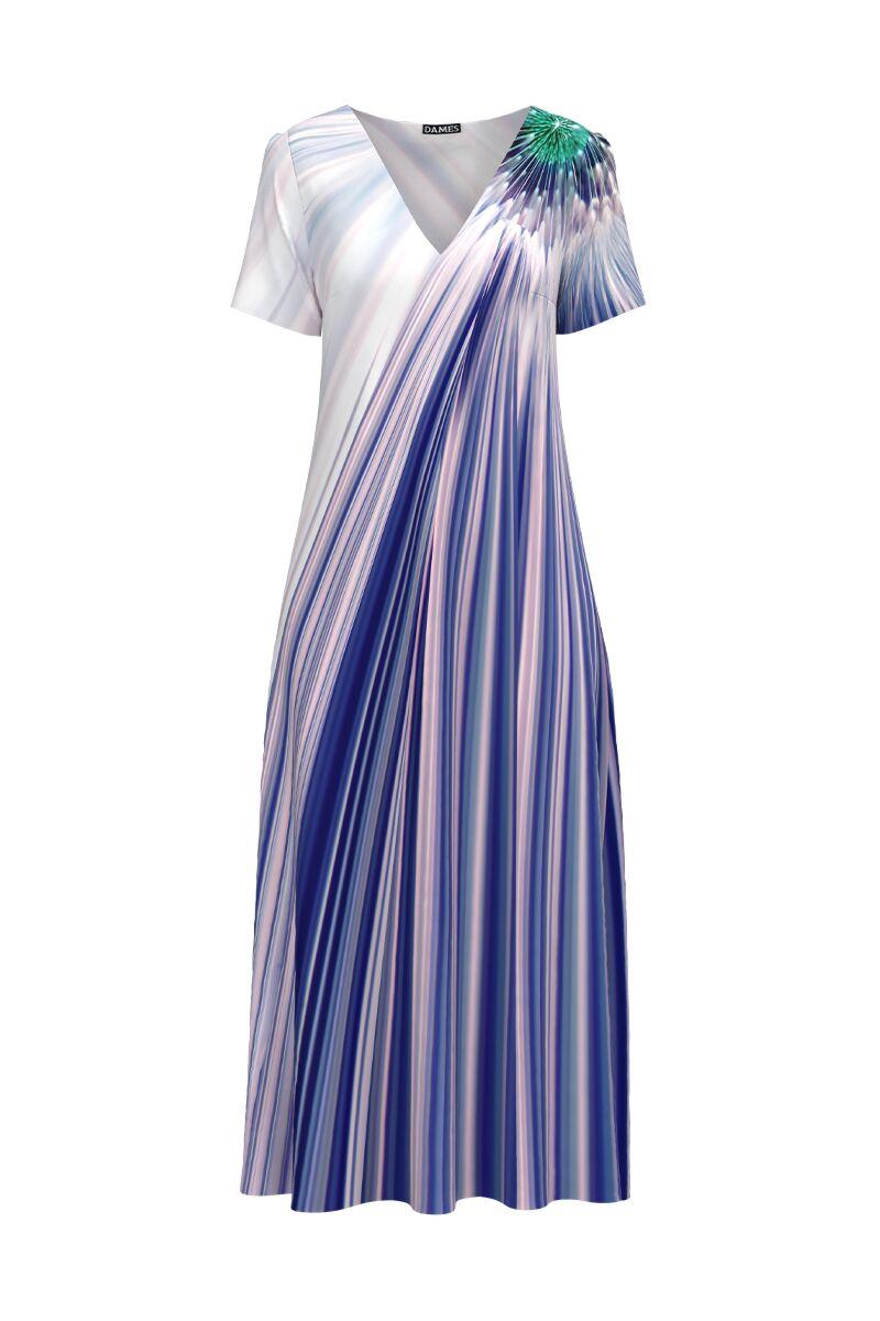 Rochie de vara imprimata in nuante de mov lunga cu buzunare CMD946