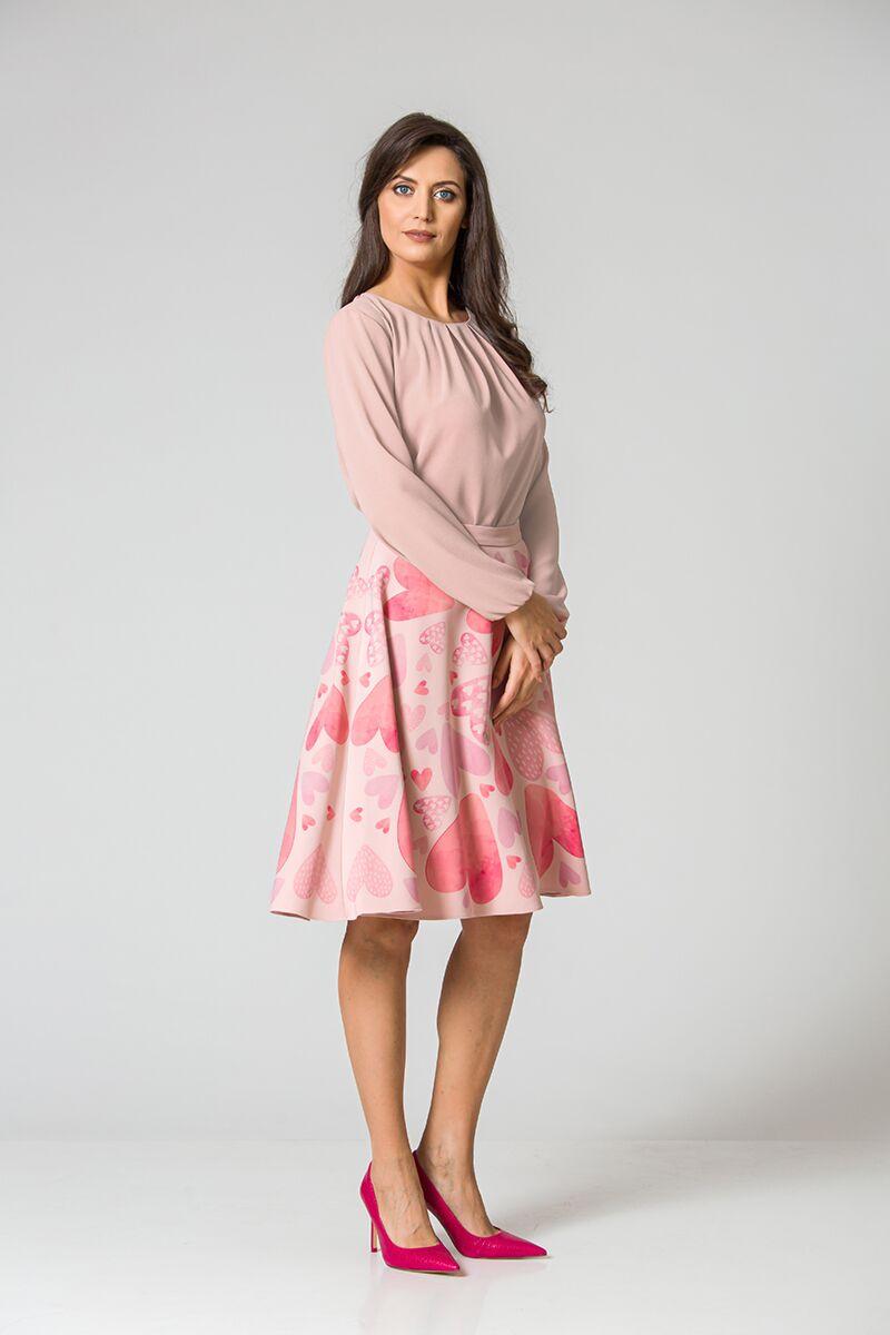 Bluza office cu plii si maneca lunga, roz DM128P