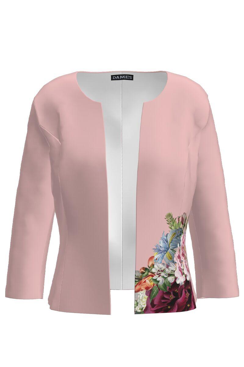 Sacou DAMES  roz cambrat imprimat cu model floral