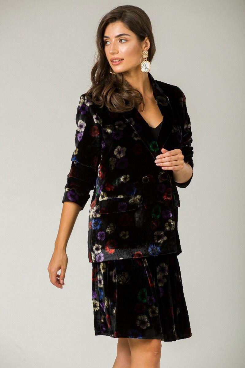 Sacou negru din catifea cu model floral CMD243