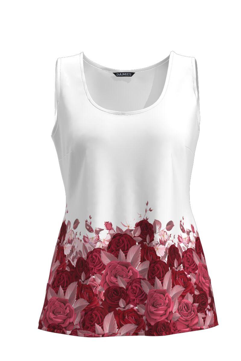 Top DAMES casual alb fara maneca imprimat cu model floral trandafiri