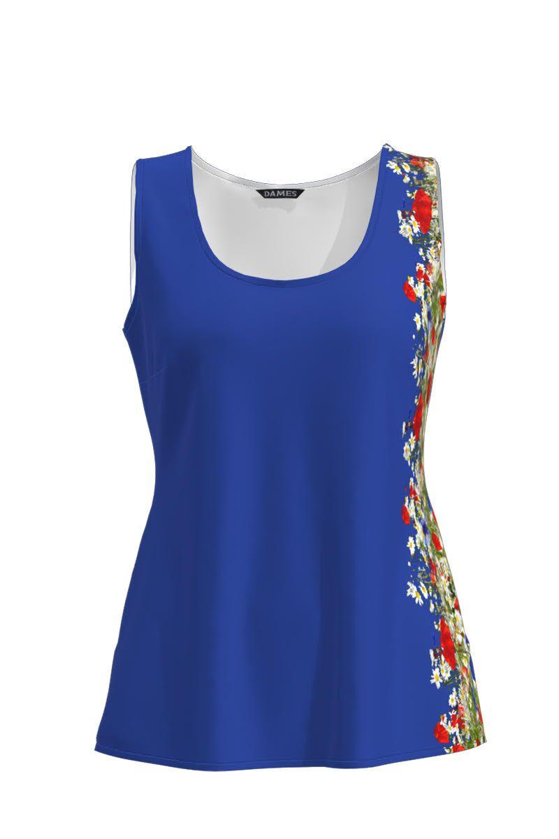 Top DAMES  albastru casual fara maneca imprimat cu model flori de camp