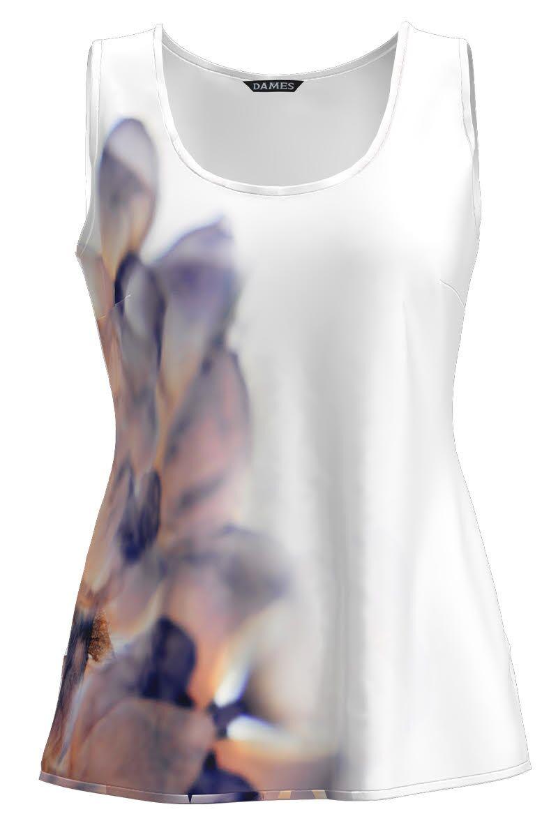 Top casual alb imprimat cu model abstract CMD1239