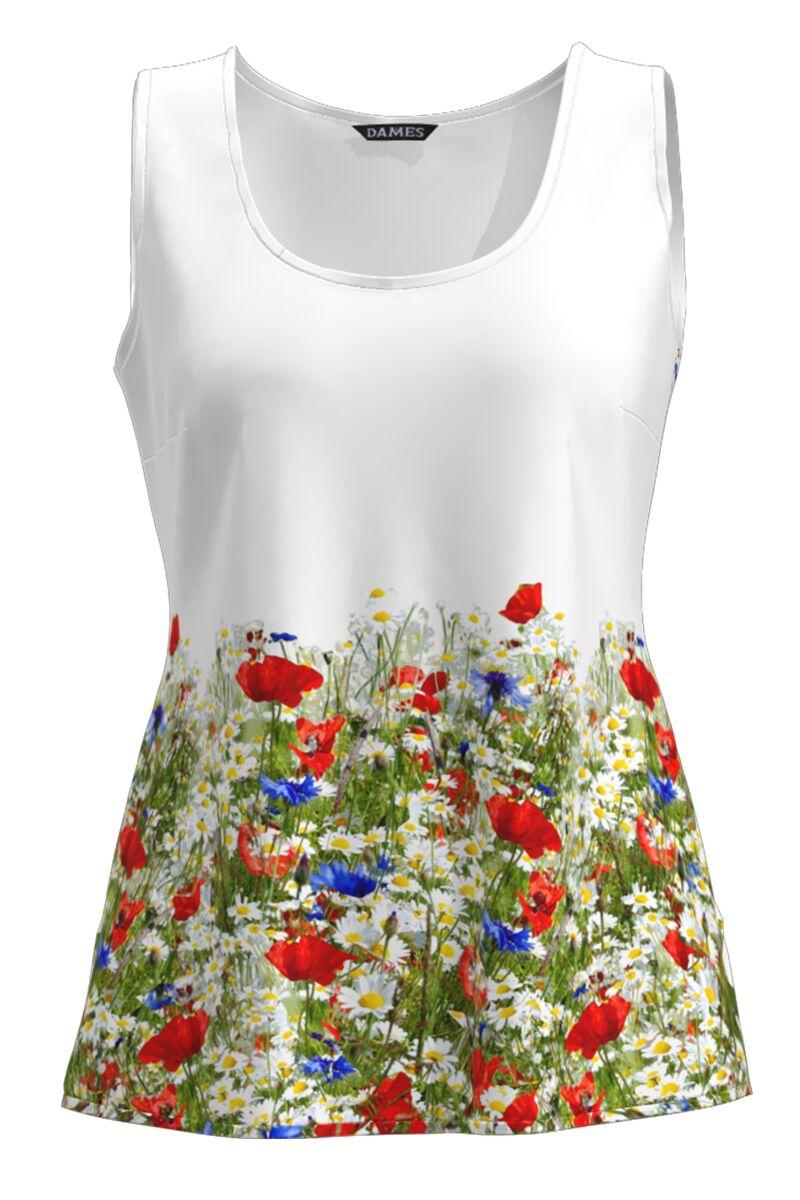 Top casual alb imprimat flori de camp CMD1009