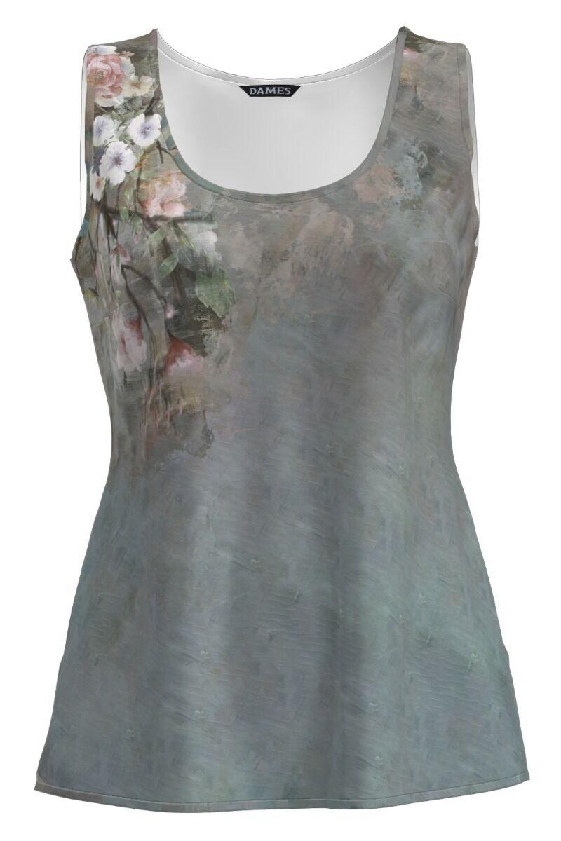 Top casual gri imprimat cu model Floral CMD1197