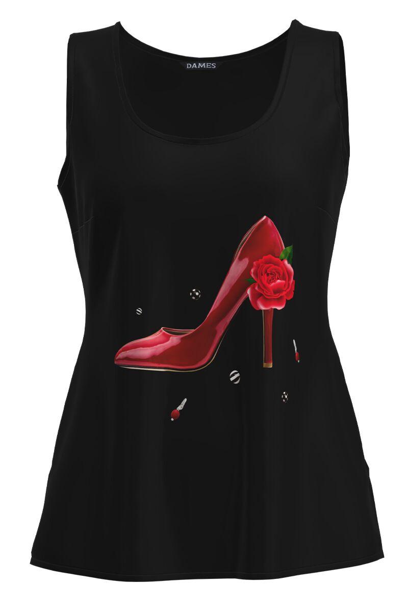 Top casual negru imprimat Pantof Rosu CMD1040