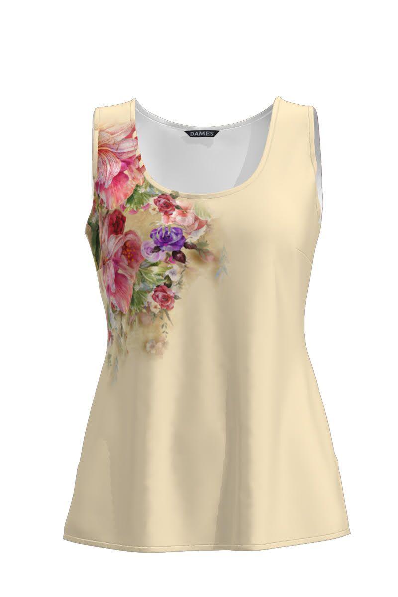 Top casual nude imprimat cu model Floral CMD787