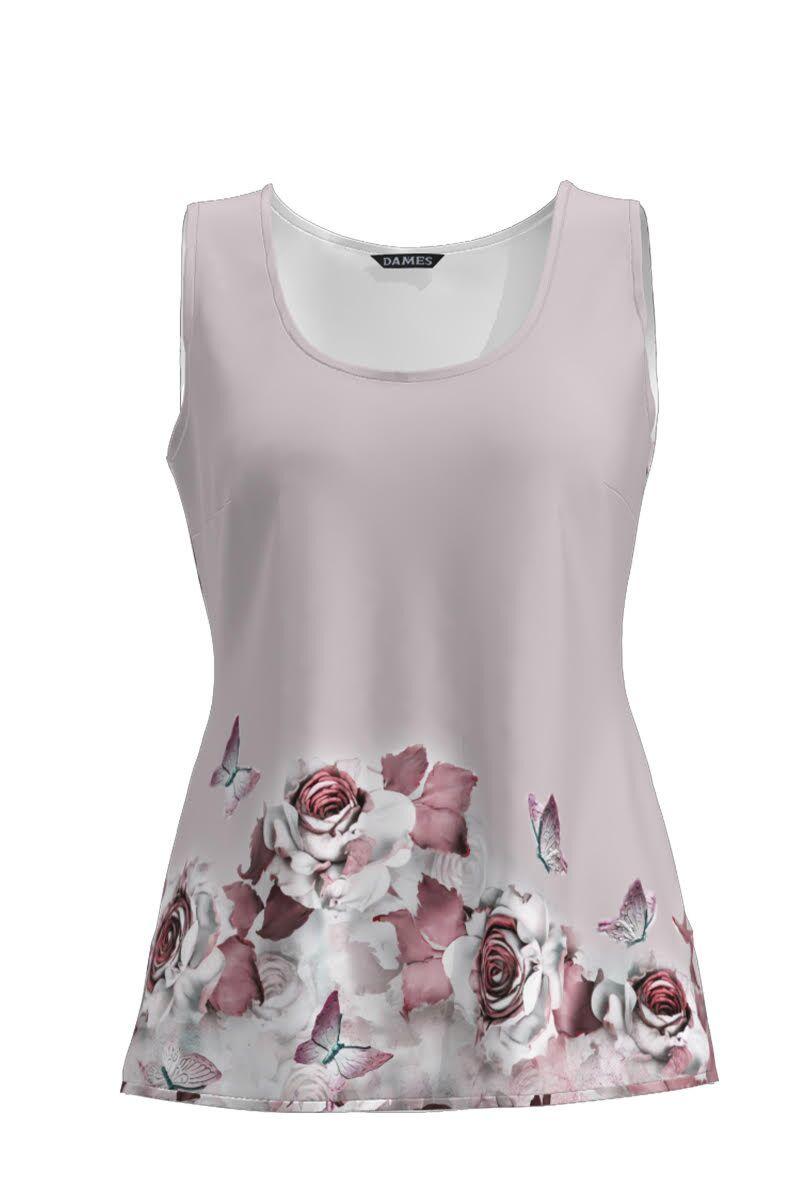 Top  DAMES casual roz cu model floral