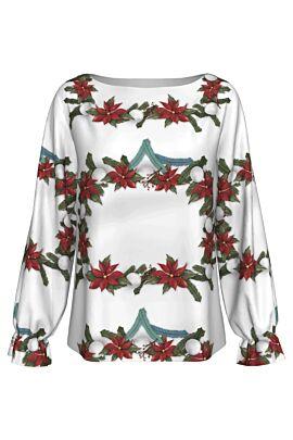 Bluza alba DAMES imprimata cu florea craciunului