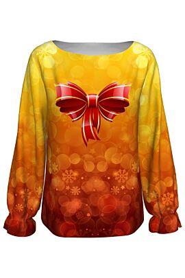 bluza DAMES cu maneca lunga imprimata digital cu motiv de craciun in nuante de rosu si galben