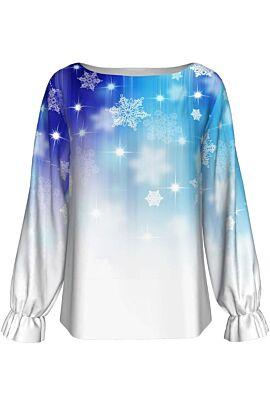 bluza DAMES imprimata de Craciun in nuante de alb albastru cu stelute de gheata