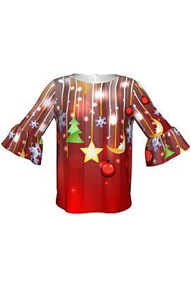 Bluza DAMES rosie de Craciun imprimata cu decoratiuni pentru sarbatorile de iarna