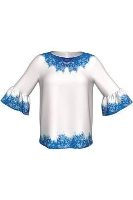 Bluza DAMES cu maneca trei sferturi si imprimeu alb albastru de Craciun