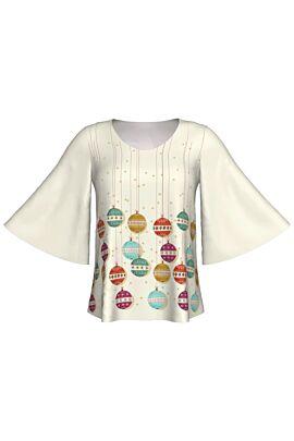 Bluza DAMES cu maneca trei sferturi imprimata de Craciun cu globuri pentru sarbatorile de iarna