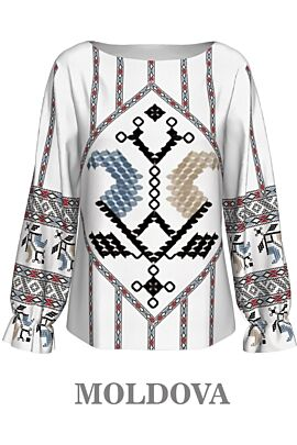 Bluza DAMES cu maneca lunga imprimata cu motive traditionale romanesti