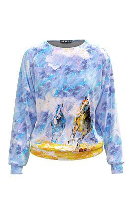 Bluza DAMES bleu tip hanorac din catifea