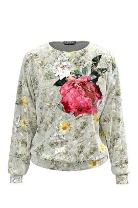 Bluza  DAMES  gri tip hanorac din catifea cu print floral