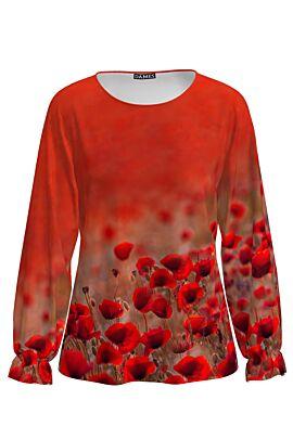 Bluza rosie cu maneca lunga si imprimeu maci CMD1261