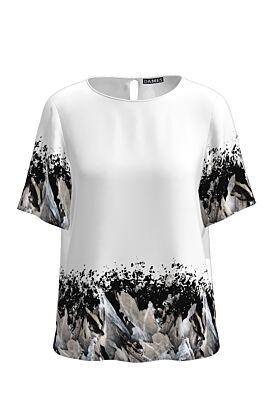 Bluza alba cu maneca scurta imprimata abstract CMD1266