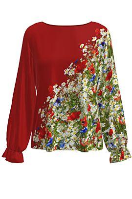 Bluză  DAMES rosieimprimata digital cu flori de camp.