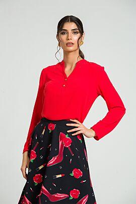 Bluza DAMES rosu corai cu nasturi di guler tunica