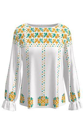 bluza DAMES cu maneca lunga imprimata cu motive populare romanesti