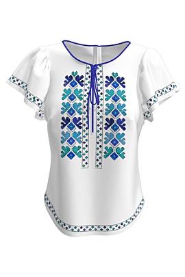 Bluză  DAMES cu mâneci scurte şi cu motive inspirate de portul popular românesc