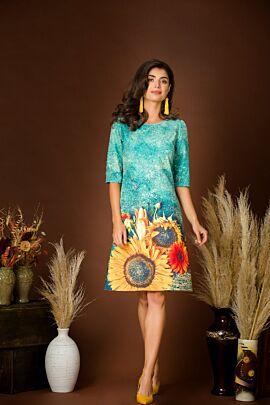 rochie DAMES de craciun verde imprimata floarea soarelui