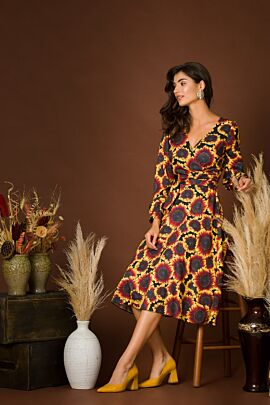 Rochie eleganta cu maneca lunga imprimata Floarea soarelui CMD219