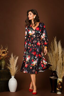 Rochie eleganta cu maneca lunga imprimata Floral CMD229