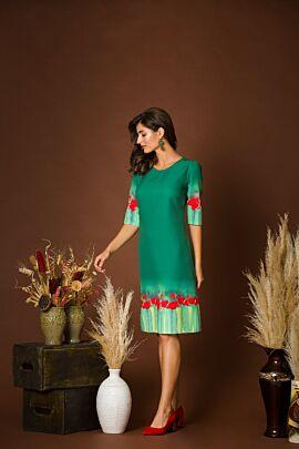 Rochie de zi DAMES  verde imprimata cu maci rosii