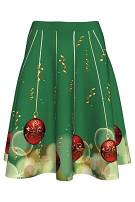fusta dames clos verde imprimata confetti,fusta cu globuri pentru sarbatorile de iarna
