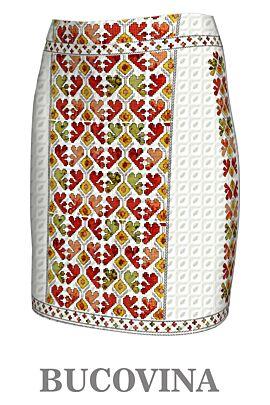 Fustă imprimată cu motive tradiționale Bucovina3,A843B3
