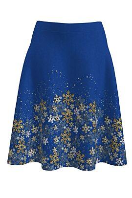 Fusta dames clos albastra imprimata cu stele de Craciun